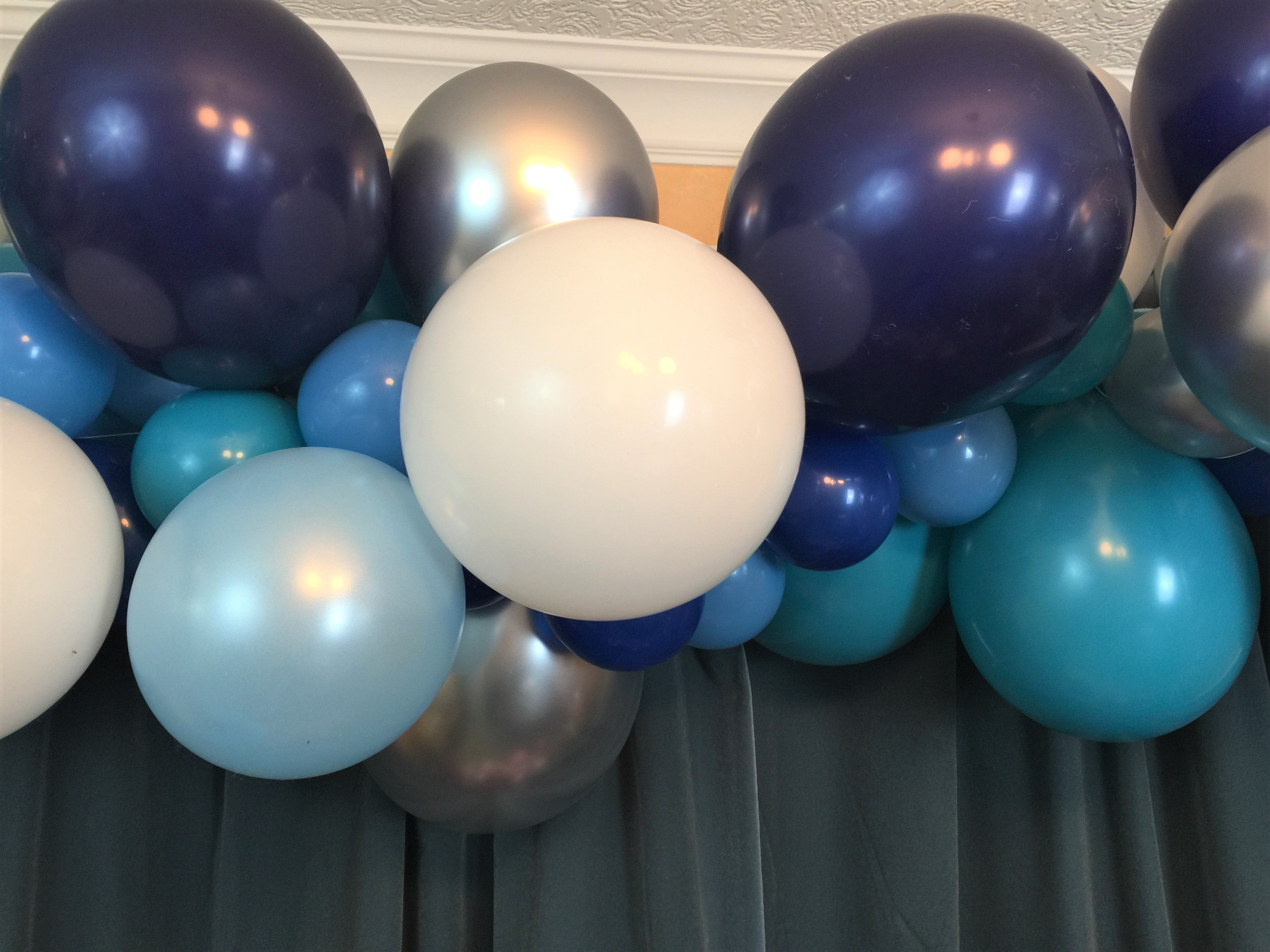 Dark Blue,Teal,Pale Blue White and Silver Balloon Garland