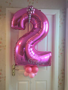 Personalised Pink  number Birthday Balloon Display