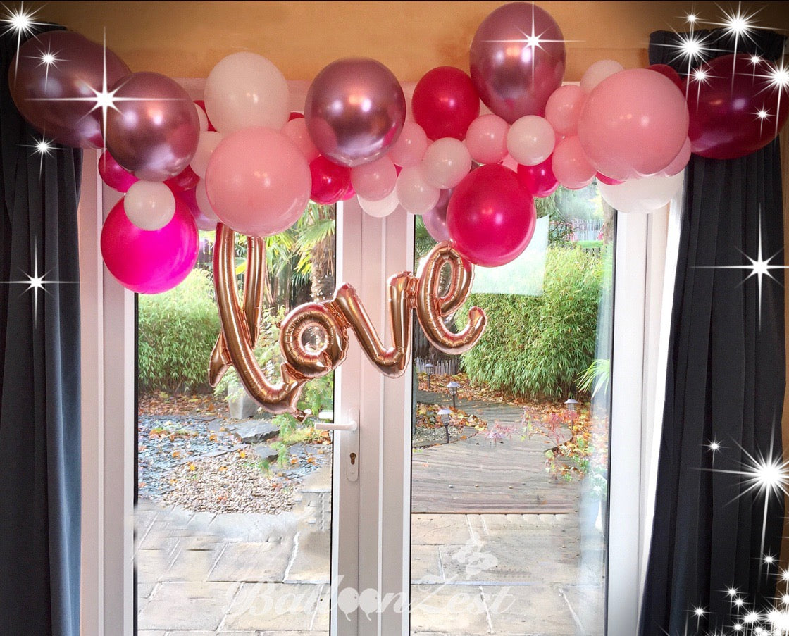 Pink,Magenta,White and Rose Gold Balloon Garland