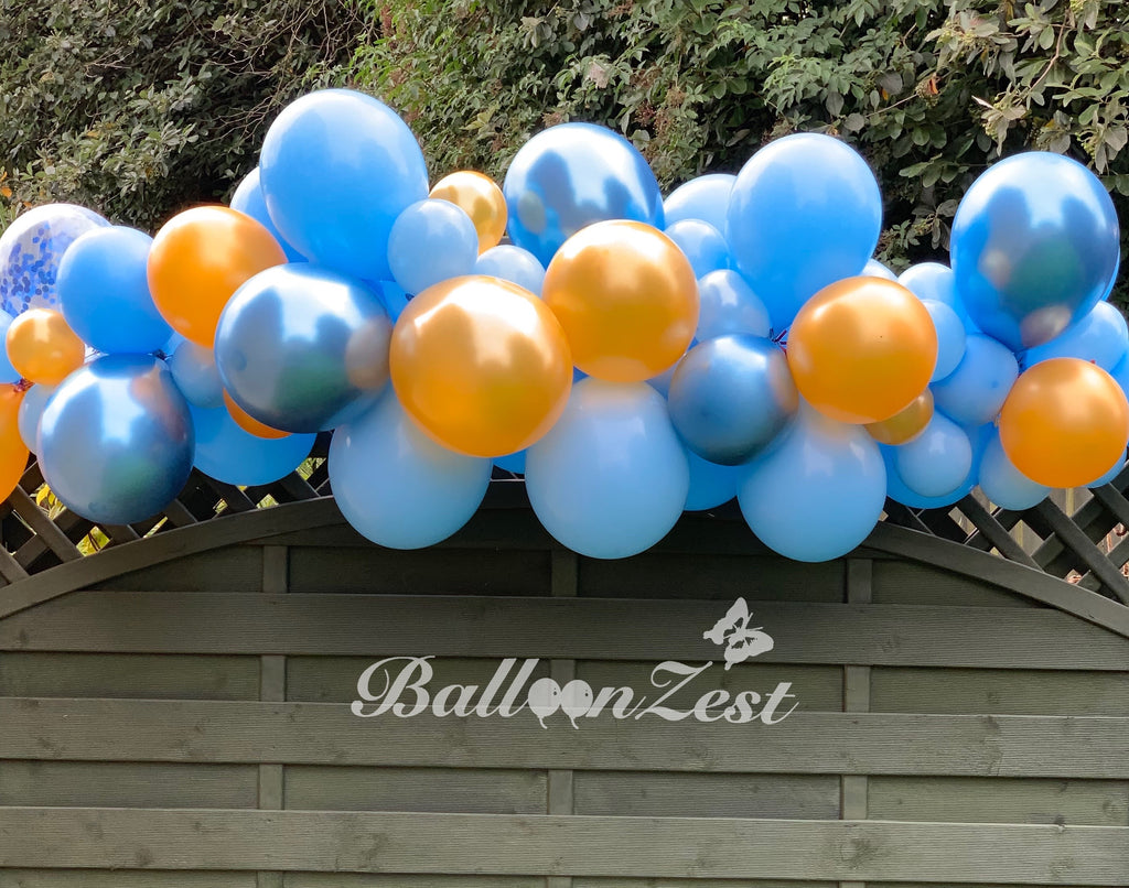 Chrome Blue,Pale Blue and  Gold Balloon Garland