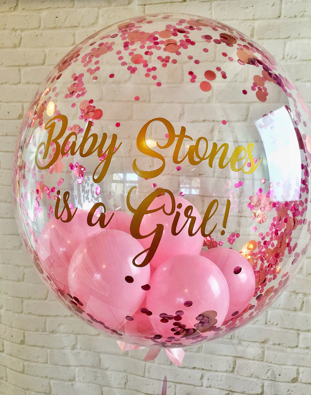 Personalised gender reveal pink confetti balloon