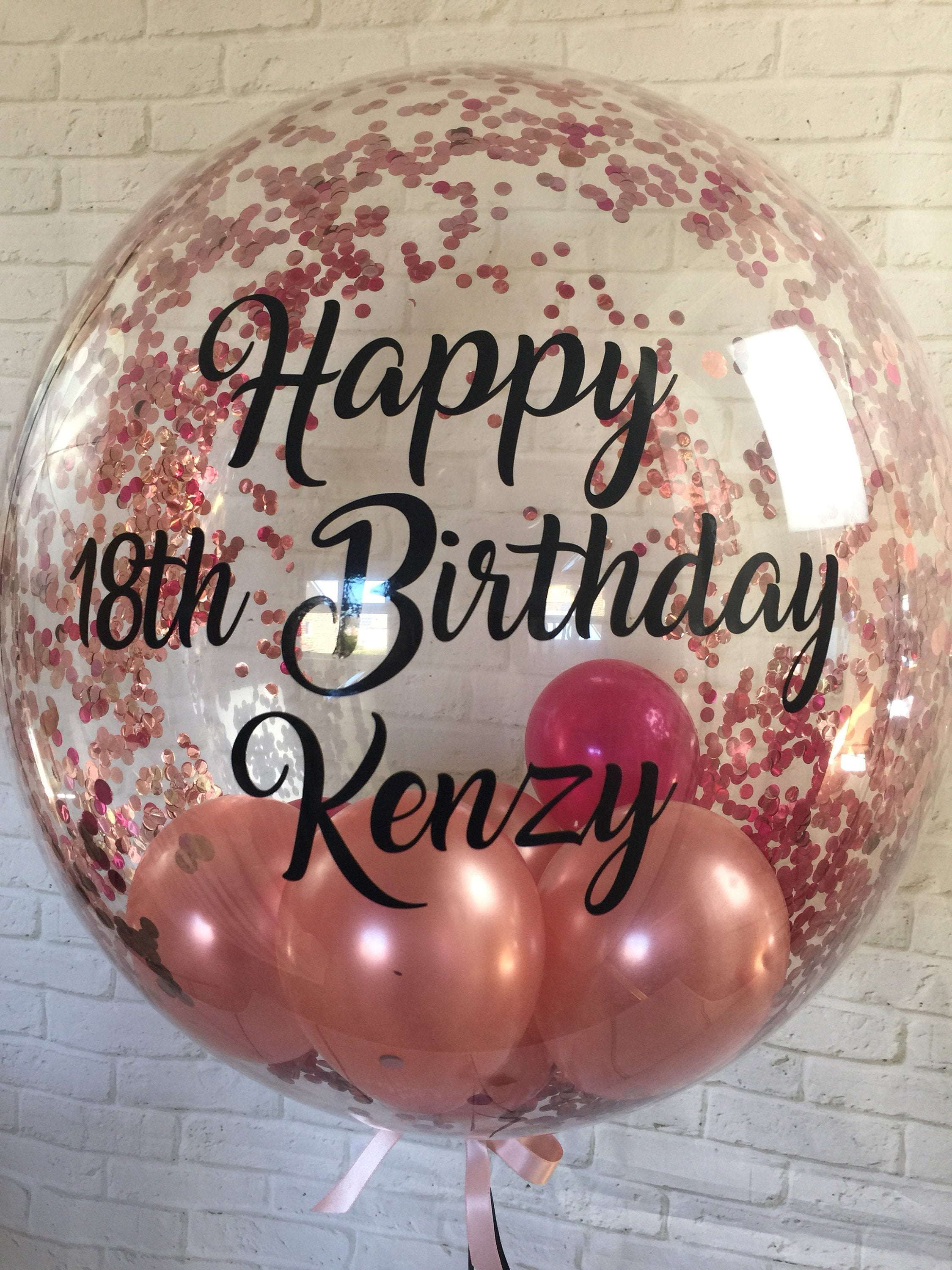 Personalised Rose Gold Confetti Balloon