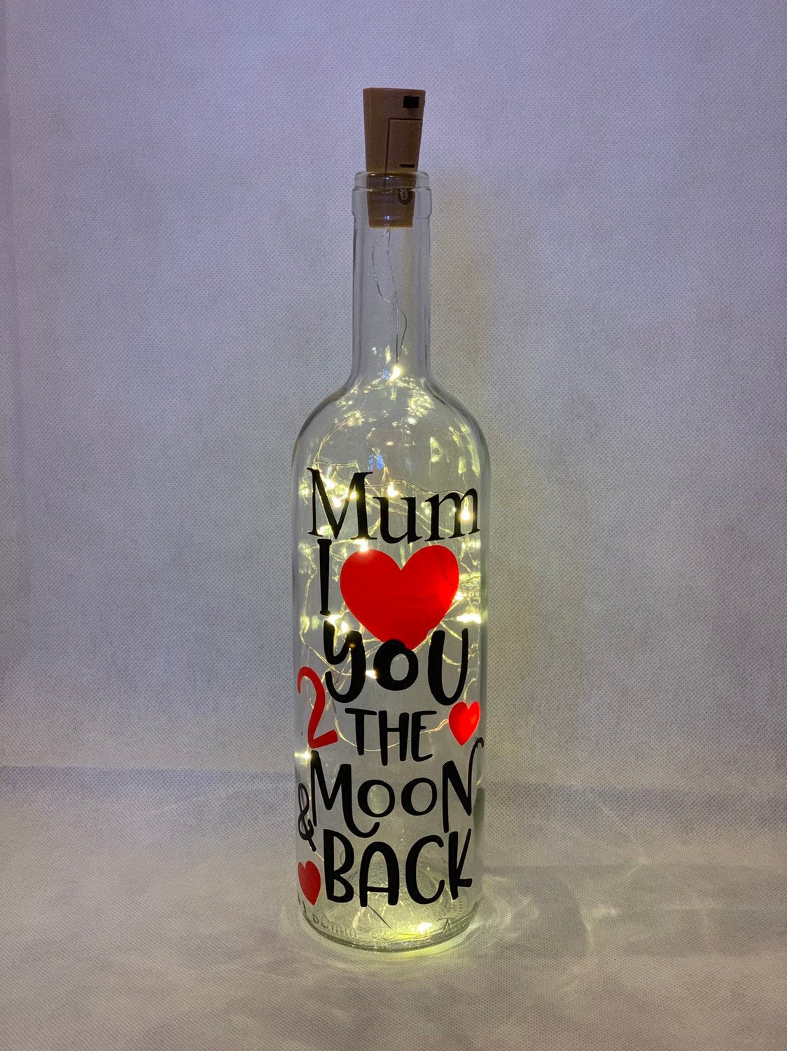 """Love You to the Moon  & Back"" Wine Bottle Lights"