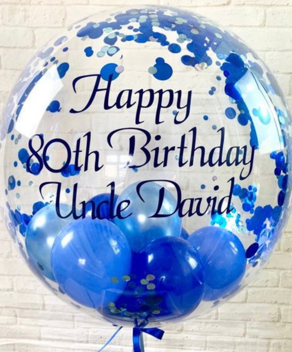 Blue Confetti Balloon Personalised Birthday