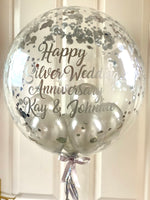 Personalised Silver Wedding Anniversary Balloon Gift