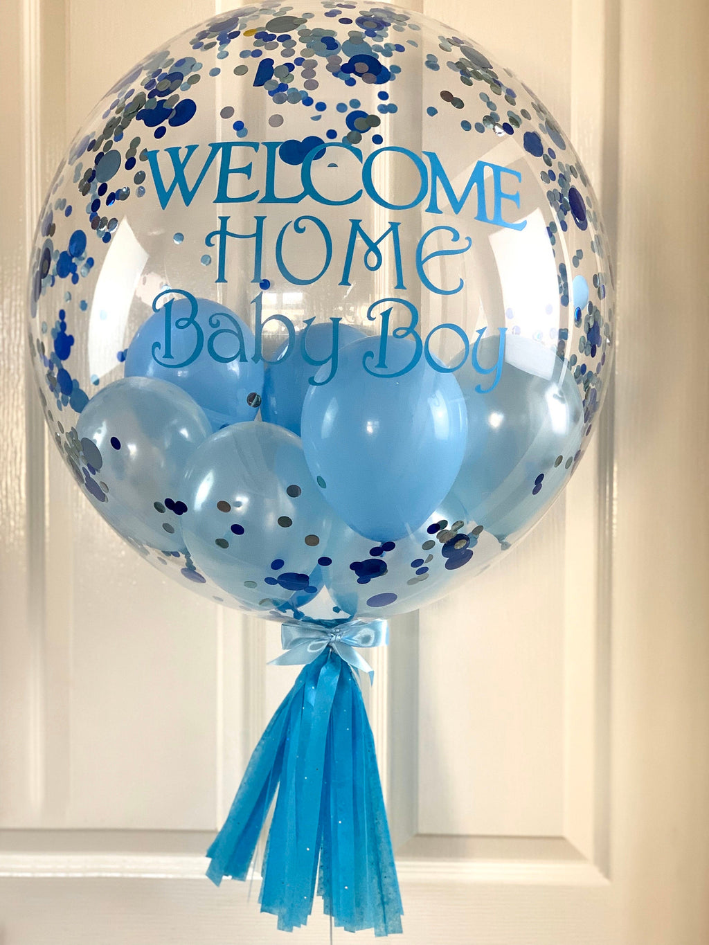 Welcome Baby Boy Feather Balloon Gift