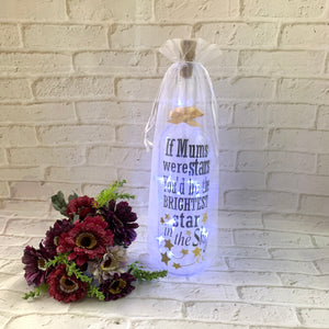 """If Mums were stars"" Wine Bottle lights gift"