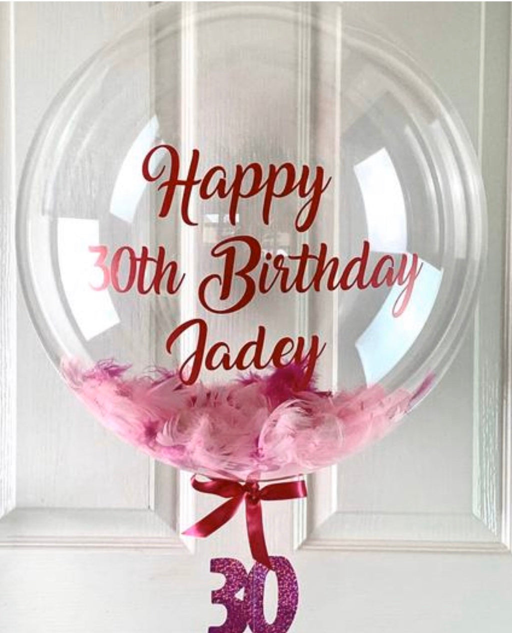 Personalised 30th Birthday Pink Feather Balloon