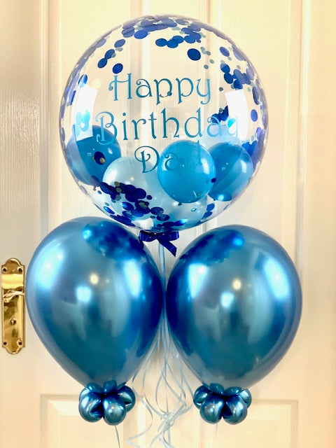 Personalised Blue Confetti Balloon Bouquet