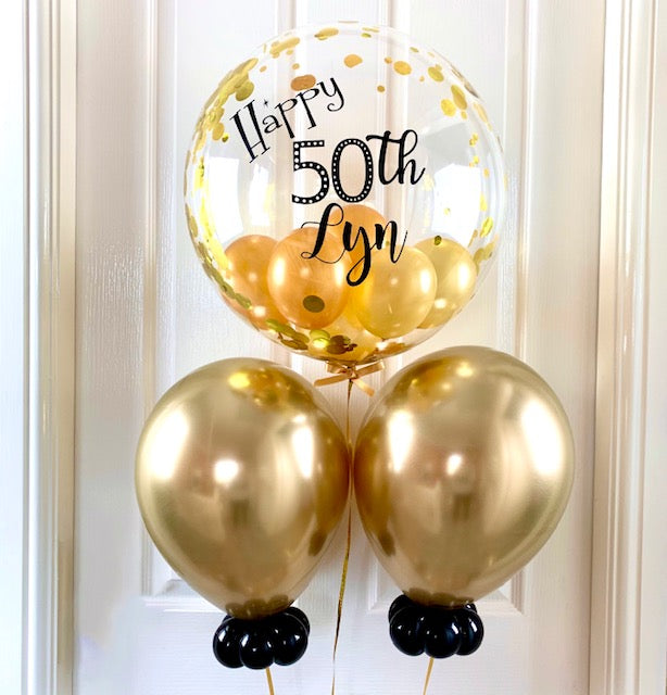 Personalised Gold Confetti Balloon Bouquet