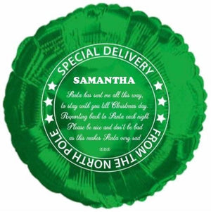 Personalised Christmas Green foil balloon