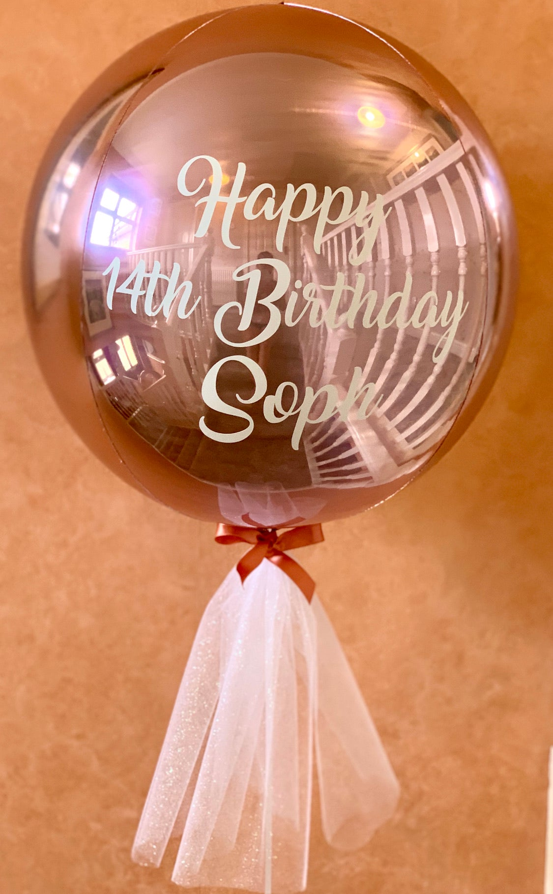 Personalised Rose Gold Metallic Orbs Helium Balloon
