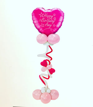 Personalised  Giant Pink  Heart Balloon Display