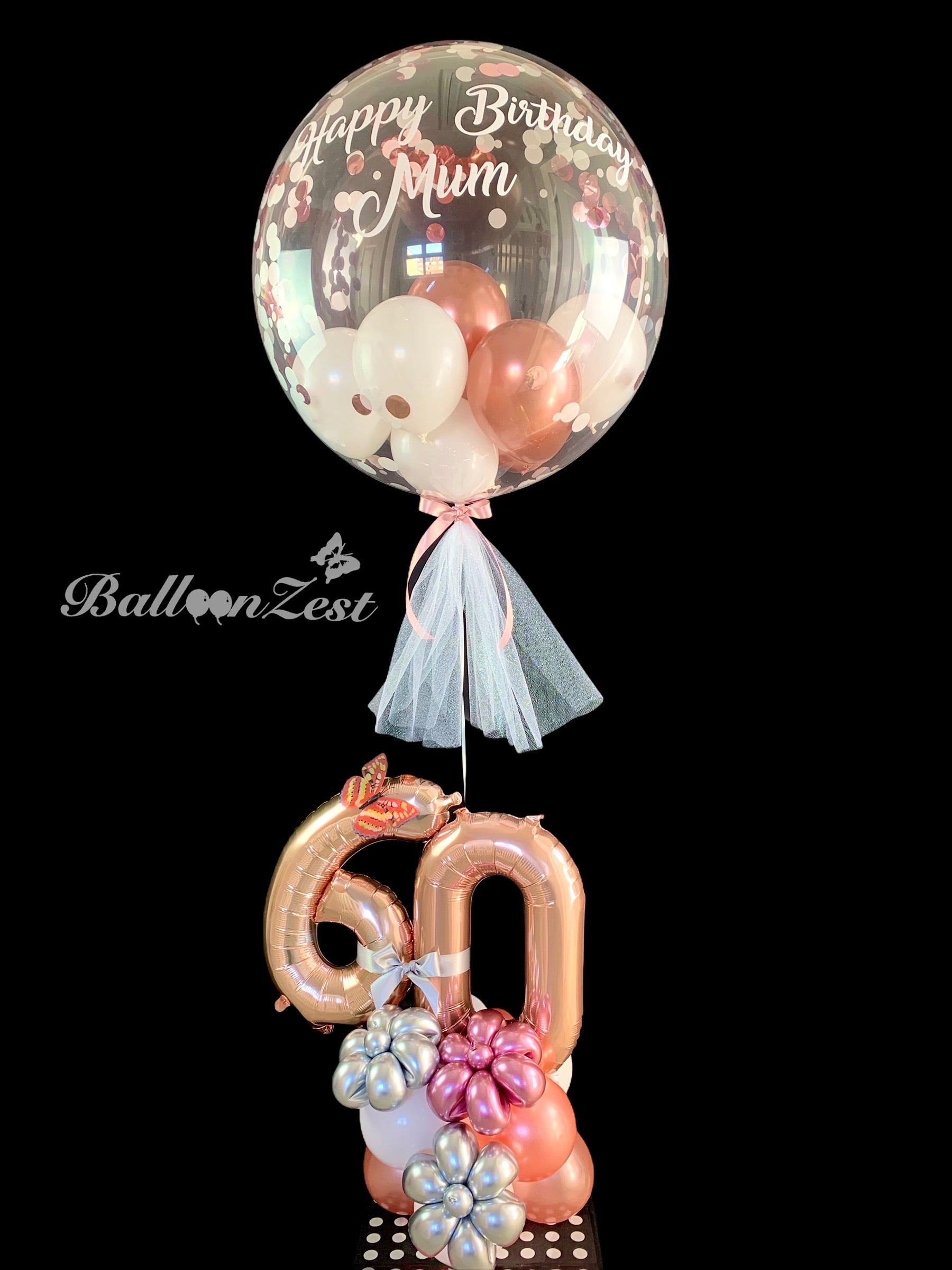 Personalised 60th Birthday Rose Gold  Balloon  Display