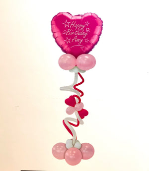 Pink Personalised Helium Inflated Heart Balloon