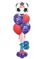 Personalised football theme helium balloon bouquet