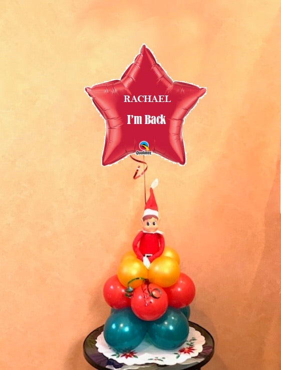 Christmas Elf with personalised Red foil star balloon