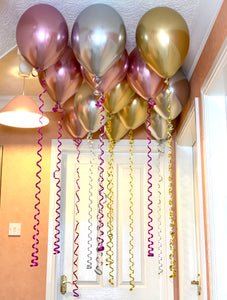 Ceiling Balloons with metallic Streamers