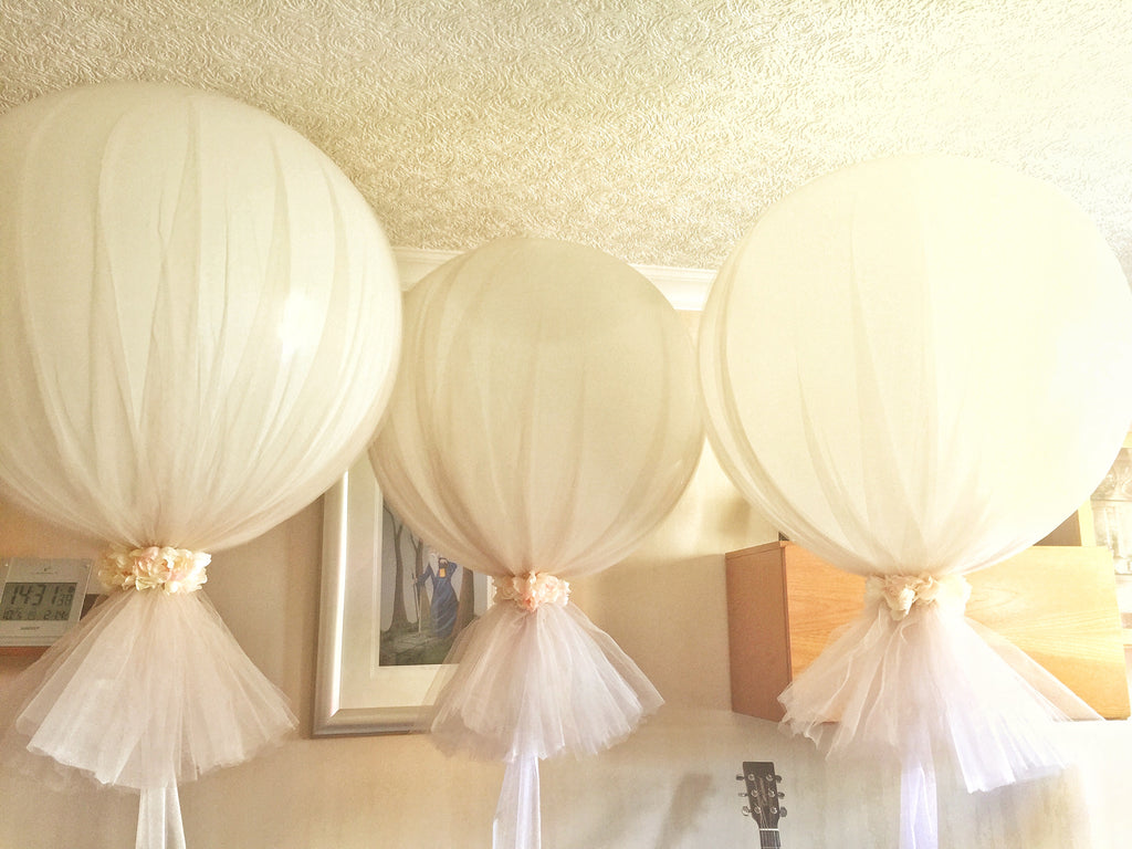 3 Large Balloons  wrapped with Organza