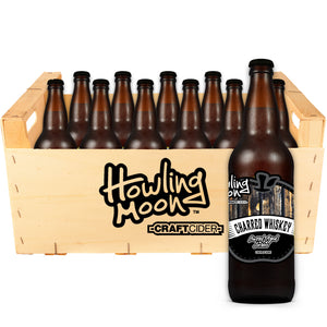 Charred Whiskey Barrel Aged Howling Moon Craft Cider, made from heritage apples in Oliver BC 12 bottle