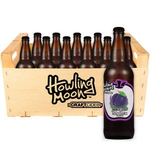 Maker's Series Lavender Plum Howling Moon Craft Cider, made from heritage apples in Oliver BC 12 bottle crate