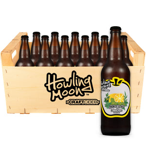 Maker's Series Lemon Hops Howling Moon Craft Cider, made from heritage apples in Oliver BC 12 bottle crate