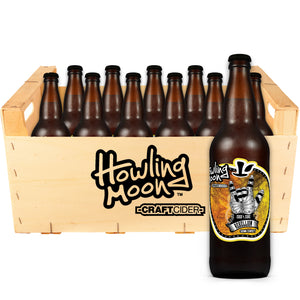Traditional Rebellion Semi-Sweet Howling Moon Craft Cider, made from heritage apples in Oliver BC 12 bottle crate