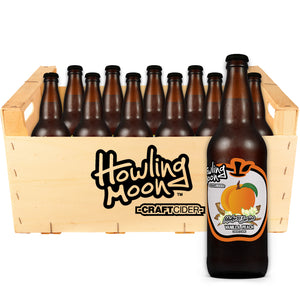 Maker's Series Vanilla Peach Howling Moon Craft Cider, made from heritage apples in Oliver BC 12 bottle crate