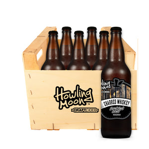 Charred Whiskey Barrel Aged Howling Moon Craft Cider, made from heritage apples in Oliver BC 6 bottle