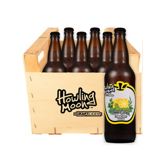 Maker's Series Lemon Hops Howling Moon Craft Cider, made from heritage apples in Oliver BC 6 bottle crate