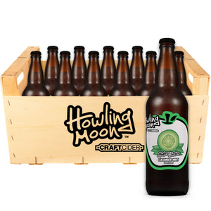 Maker's Series Cucumber Mint Howling Moon Craft Cider, made from heritage apples in Oliver BC 12 bottle crate