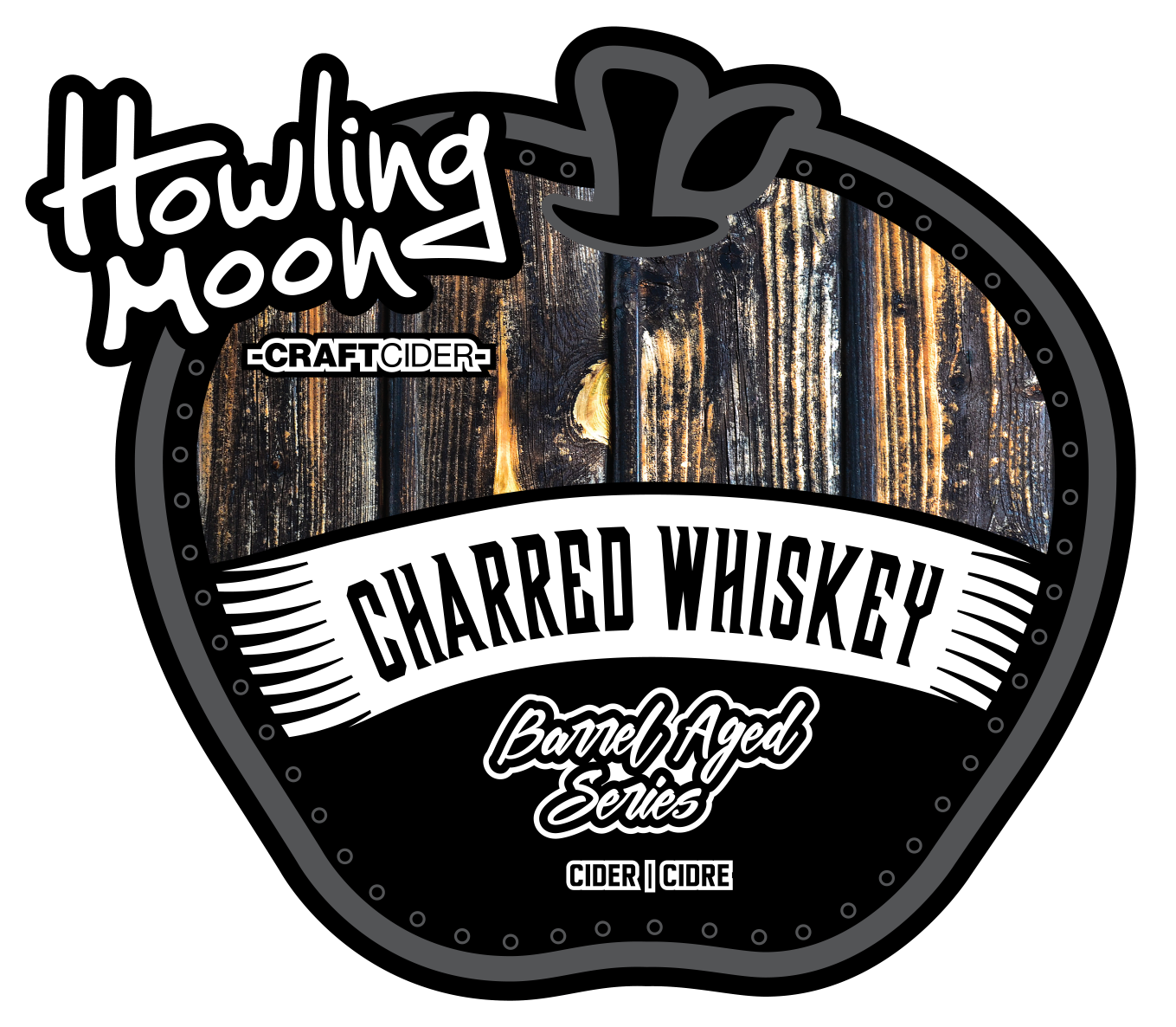 Charred Whiskey Barrel Aged Howling Moon Craft Cider, made from heritage apples in Oliver BC