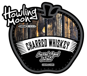 Charred Whiskey Barrel Aged Howling Moon Craft Cider, made from heritage apples in Oliver BC Label