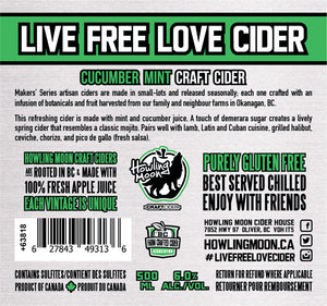 Maker's Series Cucumber Mint Howling Moon Craft Cider, made from heritage apples in Oliver BC