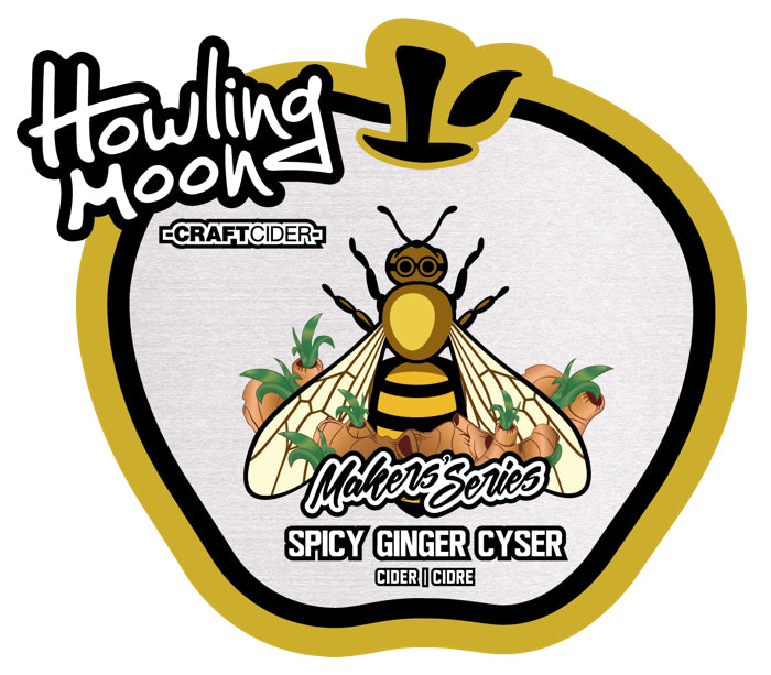 Maker's Series Spicy Ginger Cyser Howling Moon Craft Cider, made from heritage apples and honey in Oliver BC