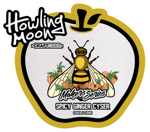 Maker's Series Spicy Ginger Cyser Howling Moon Craft Cider, made from heritage apples and honey in Oliver BC Labels