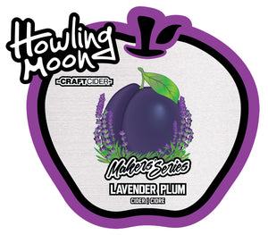 Maker's Series Lavender Plum Howling Moon Craft Cider, made from heritage apples in Oliver BC Label