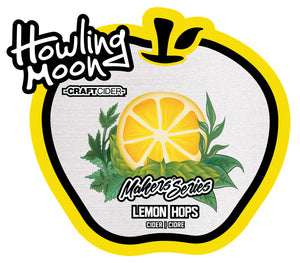 Maker's Series Lemon Hops Howling Moon Craft Cider, made from heritage apples in Oliver BC LAbel