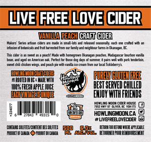 Maker's Series Vanilla Peach Howling Moon Craft Cider, made from heritage apples in Oliver BC Label
