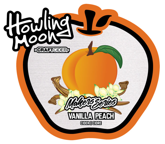 Maker's Series Vanilla Peach Howling Moon Craft Cider, made from heritage apples in Oliver BC