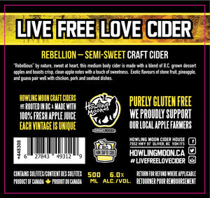 Traditional Rebellion Semi-Sweet Howling Moon Craft Cider, made from heritage apples in Oliver BC Label