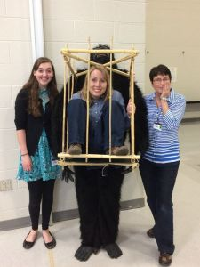 Author Sherri Maret (right) on her visit to the Shippensburg Area Intermediate Unit. Illustrator Noelle Ziegler (Help Me!) is on the left. Librarian Beth Jones is in the cage.