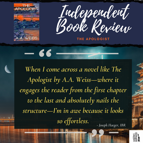 Independent Book Review quote for the apologist by AA Weiss