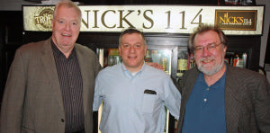 Joe Farrell (left) and Joe Farley (right) with Nick Nichols at Nick's 114 in New Cumberland.