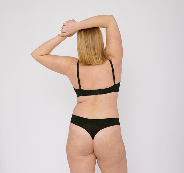 Organic Cotton Thong 2-pack Black