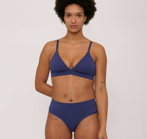 Organic Cotton Triangle Bra Cobalt