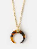 Crescent Necklace Gold Tortoiseshell