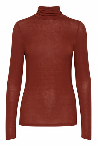 Philuca Long Sleeve Roll Neck Burnt Henna