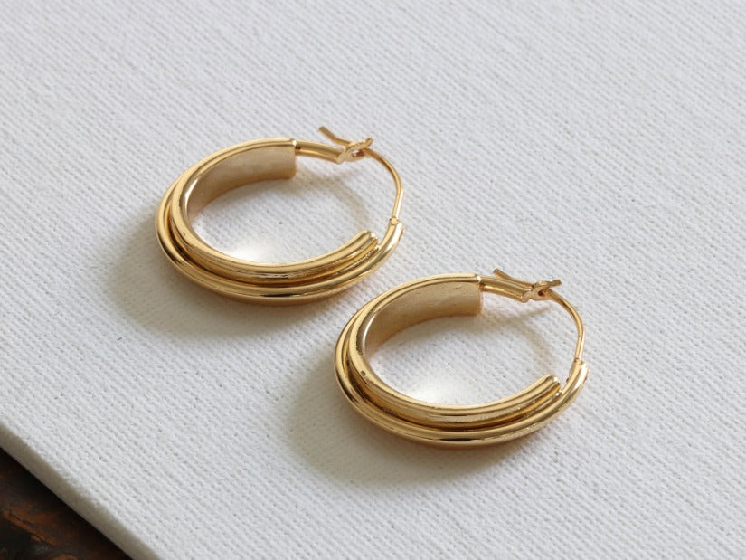 Irina Plated Brass Circular Hoop Earrings Gold