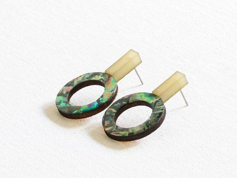 Cressida Shell Geometrical Earrings Khaki